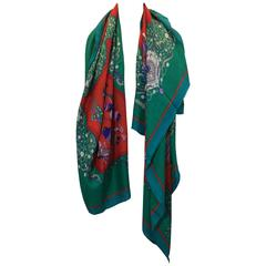 Hermes Red And Bright Green Printed Scarf