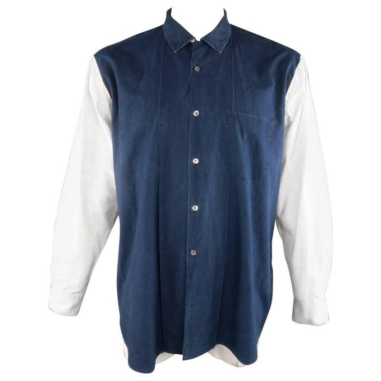 COMME des GARCONS Size L Blue & Cream Color Block Cotton Long Sleeve Shirt
