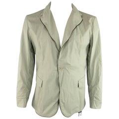 Men's BOTTEGA VENETA 44 Moss Green Coated Cotton Zip Sport Coat Jacket