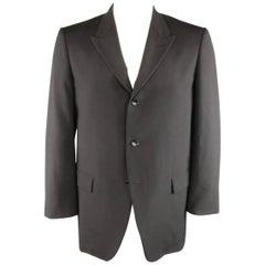 Men's COMME des GARCONS HOMME PLUS 42 Black Wool Gold Interior Boxy Sport Coat