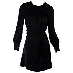 Black Prada Belted Long-Sleeve Dress