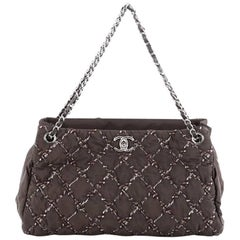 Chanel Tweed on Stitch Tote Quilted Nylon Large