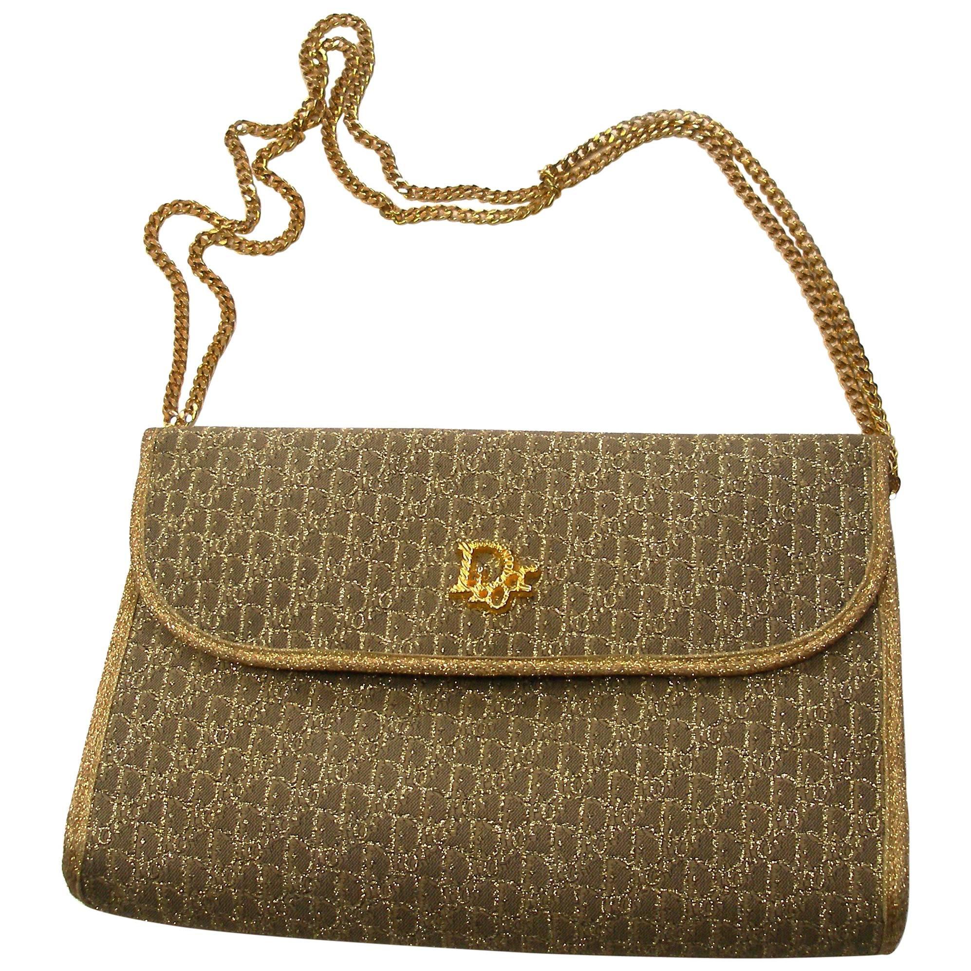 d5bc368a60b8 Vintage Christian Dior Gold Lurex Clutch Handbag at 1stdibs
