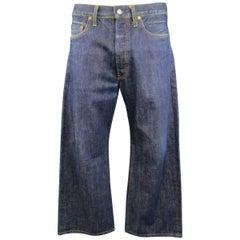 Men's Vintage YOHJI YAMAMOTO Size 34 Indigo Selvedge Denim Wide Leg Jeans