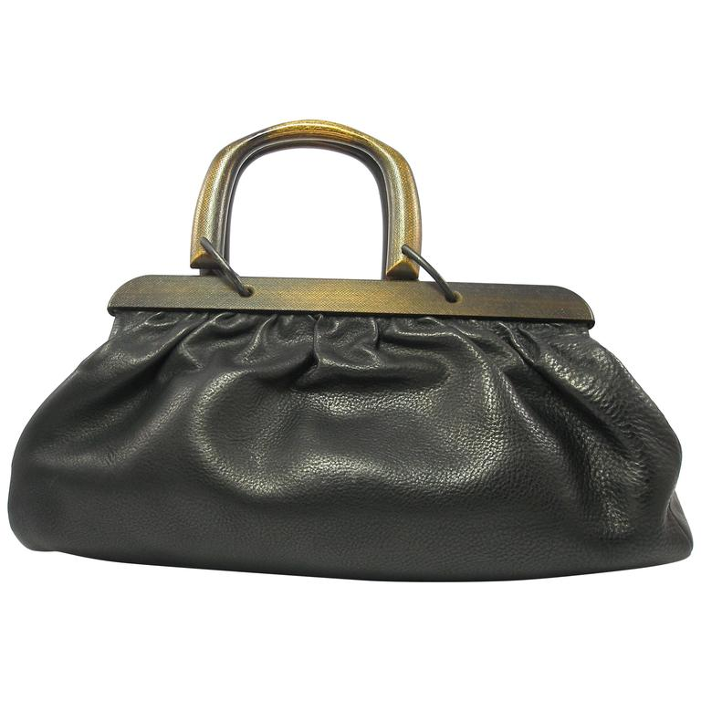 b9438916c GUCCI by TOM FORD Wooden Handles Black Leather Doctor Satchel 2002 Bag For  Sale
