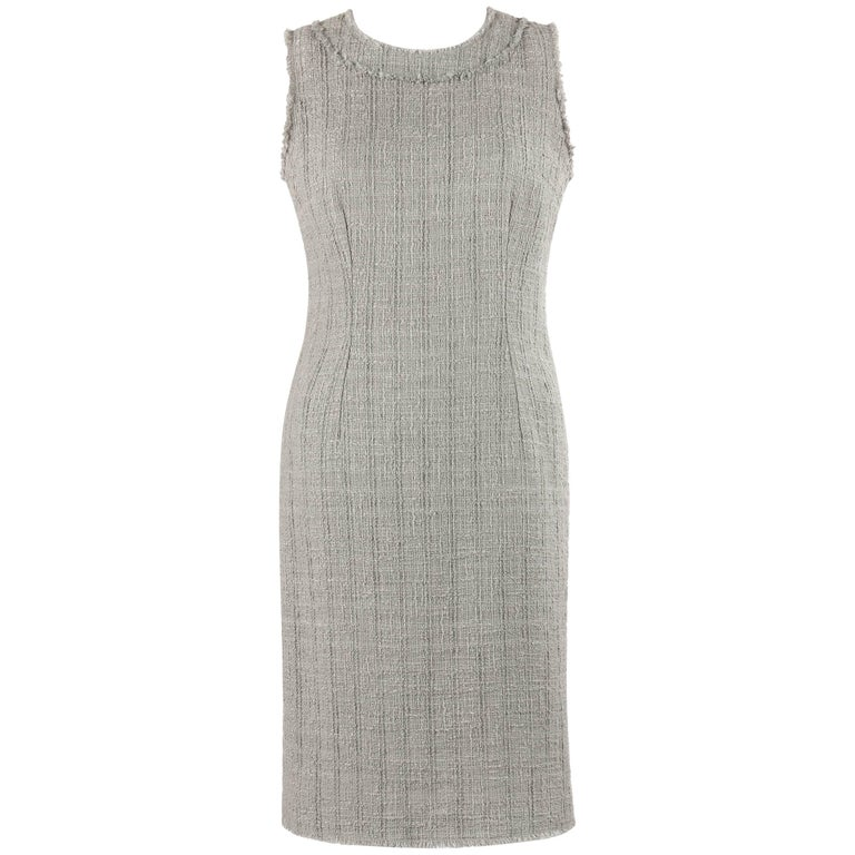 DOLCE & GABBANA A/W 2008 Gray Boucle Tweed Sleeveless Shift Dress