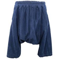 COMME des GARCONS Size M Navy Corduroy Drop Crotch Shorts