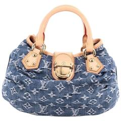 Louis Vuitton Pleaty Handbag Denim Small