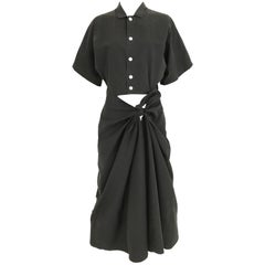 1990s Yohji Yamamoto Black Cotton Dress with Cut out wrap skirt