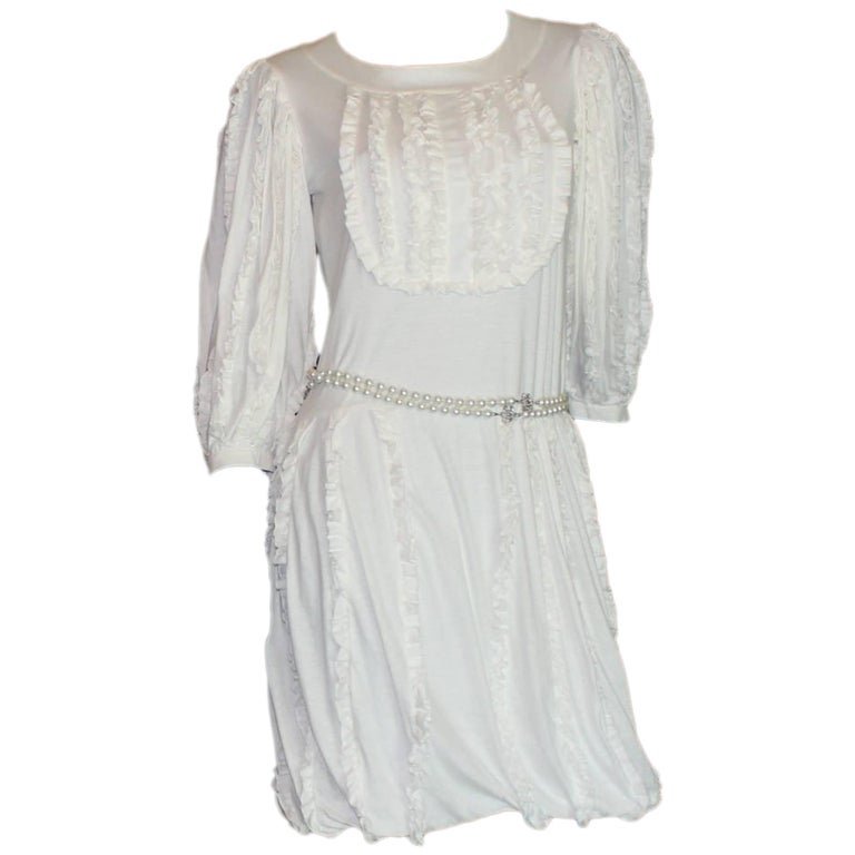 Amazing Chanel White Ruched Dress with CC Logo Buttons