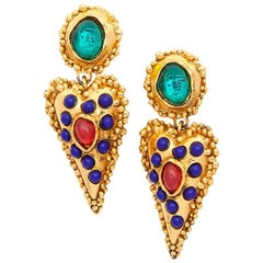 CHRISTIAN LACROIX Clip-on Earrings in Gilt Metal and Multicolored Glass Paste