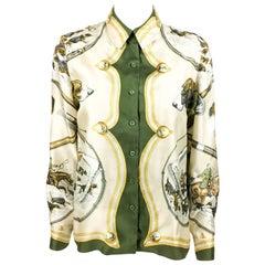 1970s Hermes Hunting Scene Silk Blouse