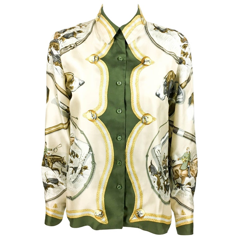 1970s Hermes Hunting Scene Silk Blouse For Sale