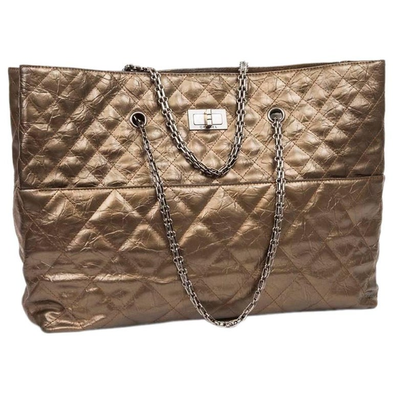 CHANEL Tote Bag Gilded Bronze Aged Leather