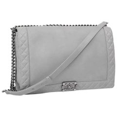 "Collector CHANEL ""Boy"" GM Flap Bag in Aged Gray Leather"