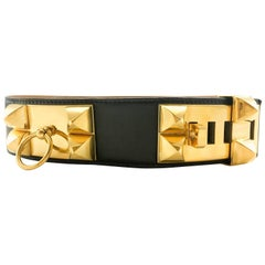1986 Hermes Collier de Chien Black Leather and Gold-Plated Hardware Belt