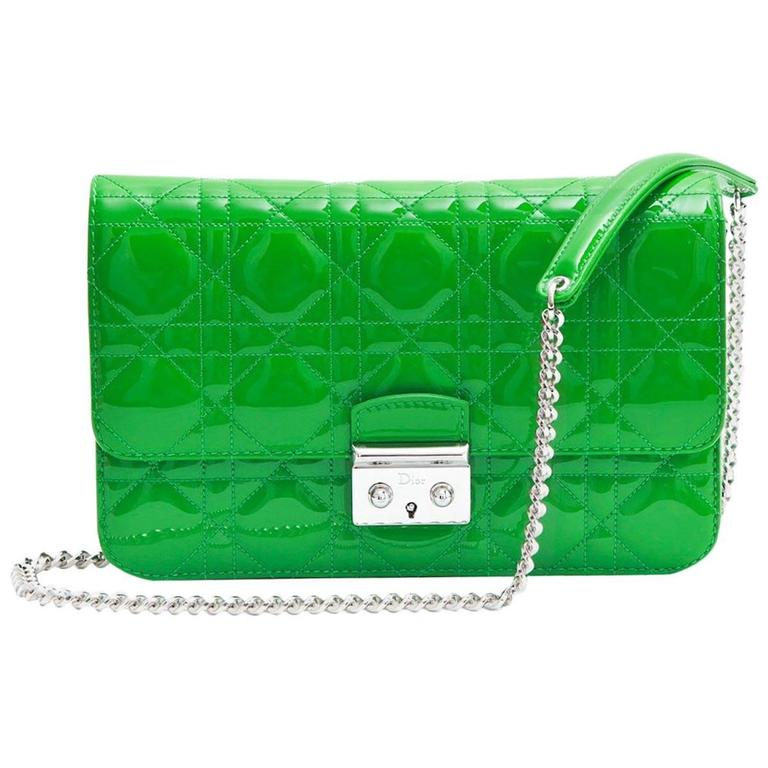 DIOR  Miss Dior  Flap Bag in Green Patent Leather at 1stdibs 5a955378cf92f