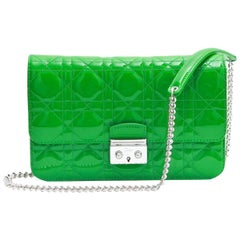 DIOR 'Miss Dior' Flap Bag in Green Patent Leather