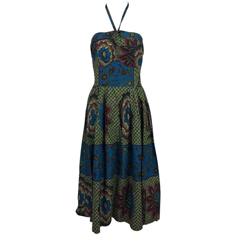 962f514ca51 Vintage Miss Hawaii by Kamehameha batik print halter neck dress 1950s For  Sale