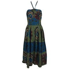 Vintage Miss Hawaii by Kamehameha batik print halter neck dress 1950s