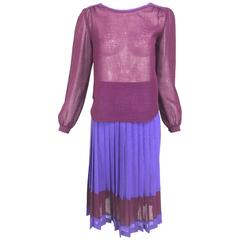 Vintage Max and Lulu purple and Burgundy linen top and skirt 1970s
