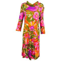 Vintage Leonard Paris fantasy floral silk jersey cowl neck dress 1970s