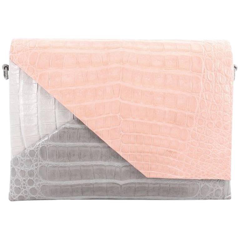 Nancy Gonzalez Origami Flap Bag Crocodile Small