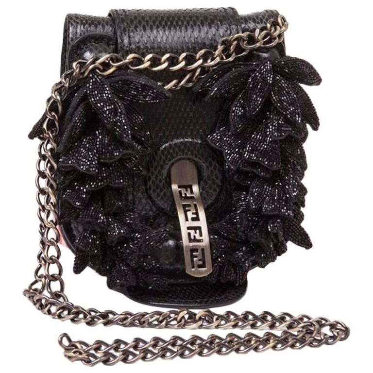 534c46b21e71 Collector Mini FENDI Flap Bag in Black Snake Leather For Sale. Collector. Mini  FENDI flap bag in black snake leather. Metal hardware blackened and coppered