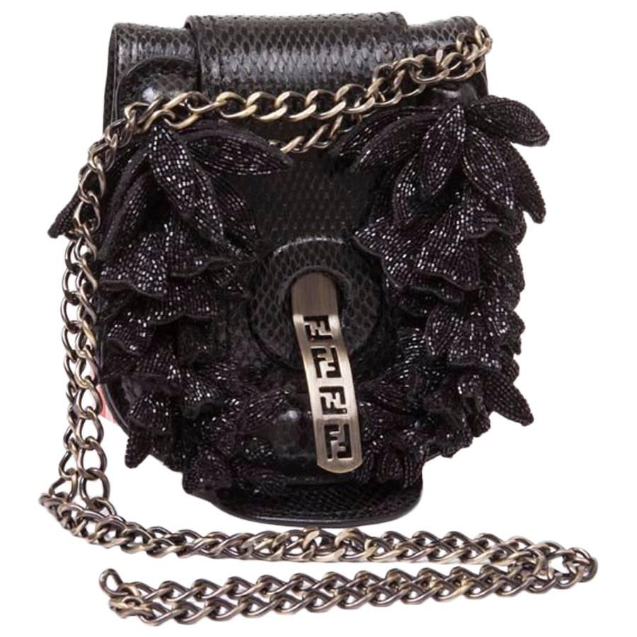 Fendi Collector Mini Fendi Flap Bag In Black Snake Leather qLcgZCw