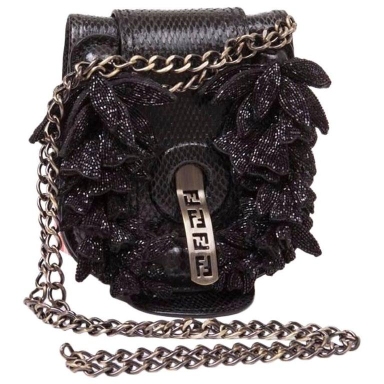 Collector Mini FENDI Flap Bag in Black Snake Leather