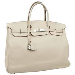 HERMES Birkin 40 Bag in Beige Taurillon Clemence Leather