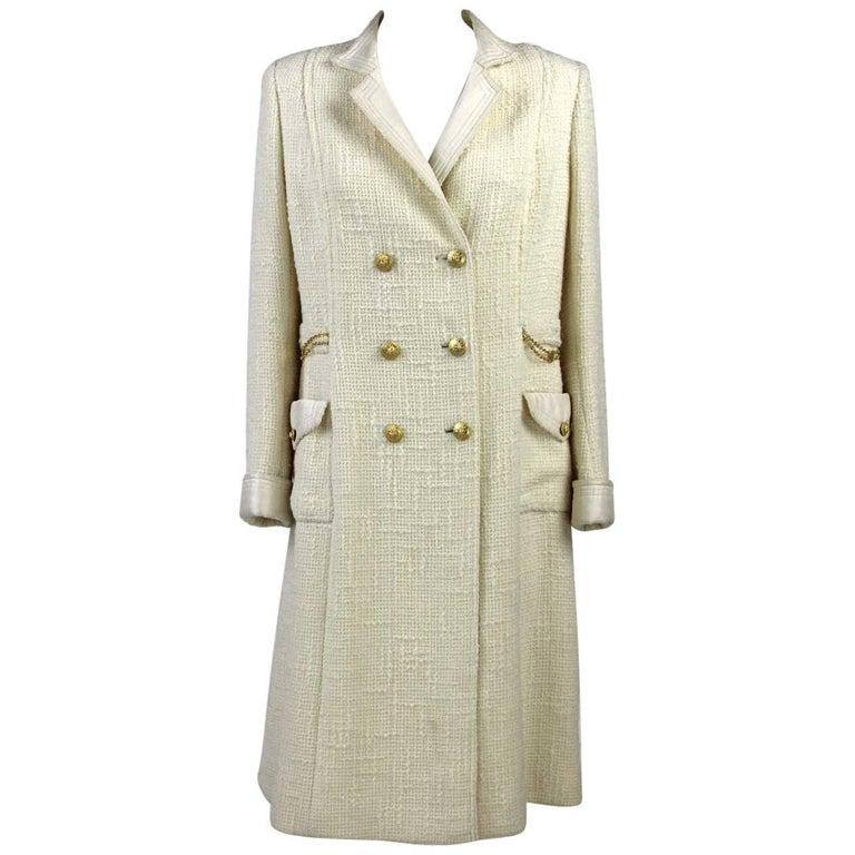 1970s Chanel White Wool Coat