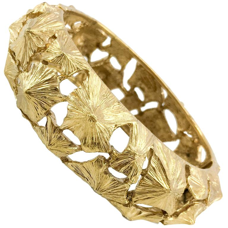 Lanvin Modernist Gilt Bracelet, 1970s  For Sale