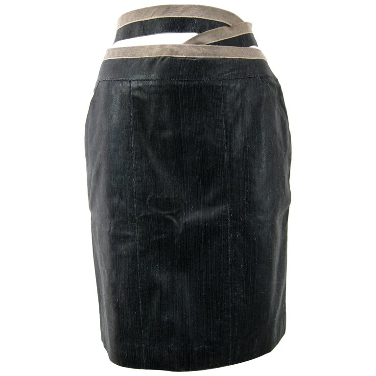 Chanel Textured Calf Skin Wrap Waist Skirt