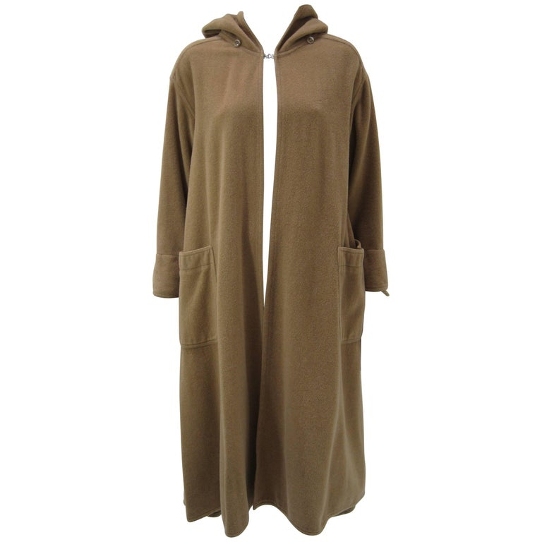 Rare Vintage Kenzo Fleece Oversize Hooded Camel Overcoat  For Sale