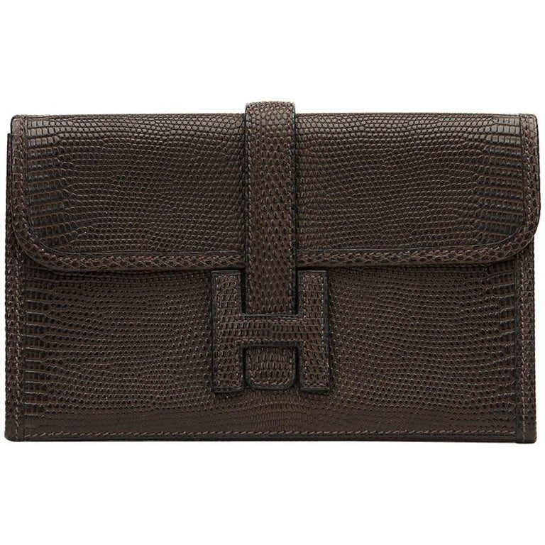2007 Hermes Ebene Lizard Mini Jige Clutch