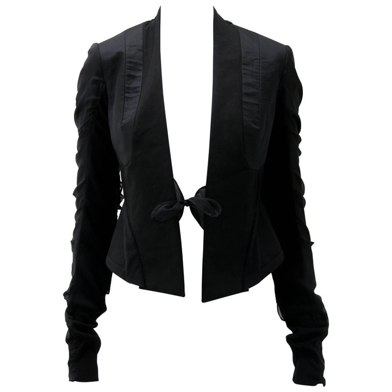 Rick Owens Multi Tie Cropped Avant Garde Structured Jacket For Sale