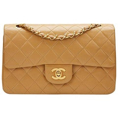1990s Chanel Light Brown Quilted Lambskin Vintage Small Classic Double Flap Bag