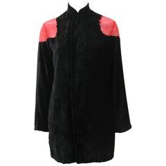 Yohji Yamamoto Noir Black & Red Crushed Velour Blazer