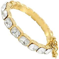 1986 Chanel Gold-Plated Quilted Bracelet Embellished With Crystals
