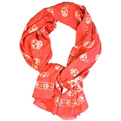 Alexander McQueen Cotton Coral and White Classic Skull XL Scarf