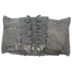 CO-LLEC-TOR PIECE Balmain Grey Crocodile Clutch  / VERY GOOD DEAL