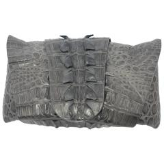 CO-LLEC-TOR PIECE Balmain Grey Crocodile Clutch  / VERY GOOD DEAL