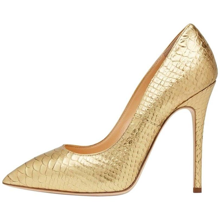 Giuseppe Zanotti New Gold Python Snake Embossed High Heels Pumps in Box For Sale