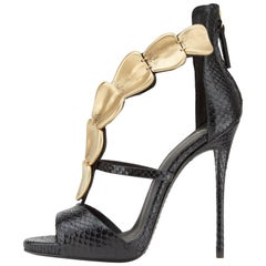 Giuseppe Zanotti New Black Lizard Gold Evening Sandals Heels in Box