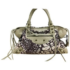 Balenciaga City Classic Studs Handbag Printed Nylon and Leather Medium