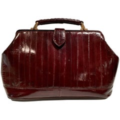 "Vintage Authentic Eel Skin Oxblood ""Doctor's"" Hand Bag"