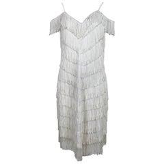 Vintage Joy Stevens off white V fringe cocktail dress 1970s