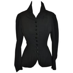 Yohji Yamamoto Black Deconstructed with Boning Bodice Button Jacket
