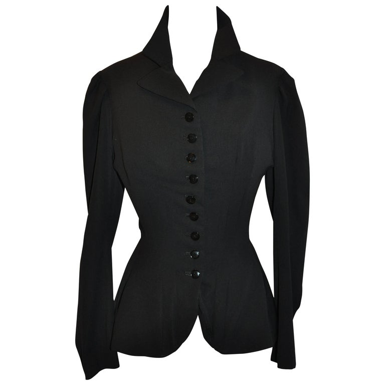 Yohji Yamamoto Black Deconstructed with Boning Bodice Button Jacket For Sale
